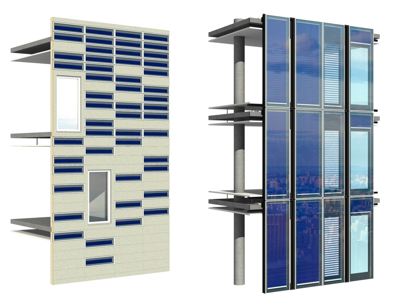 Visualization of a facade with strip collector (left) and solar thermal venetian blind (right). ©Facade-Lab