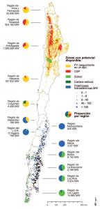 Potential Erneuerbarer Energien in Chile. PV, CSP, Windkraft (eólico), Wasserkraft (hidroeléctrica).