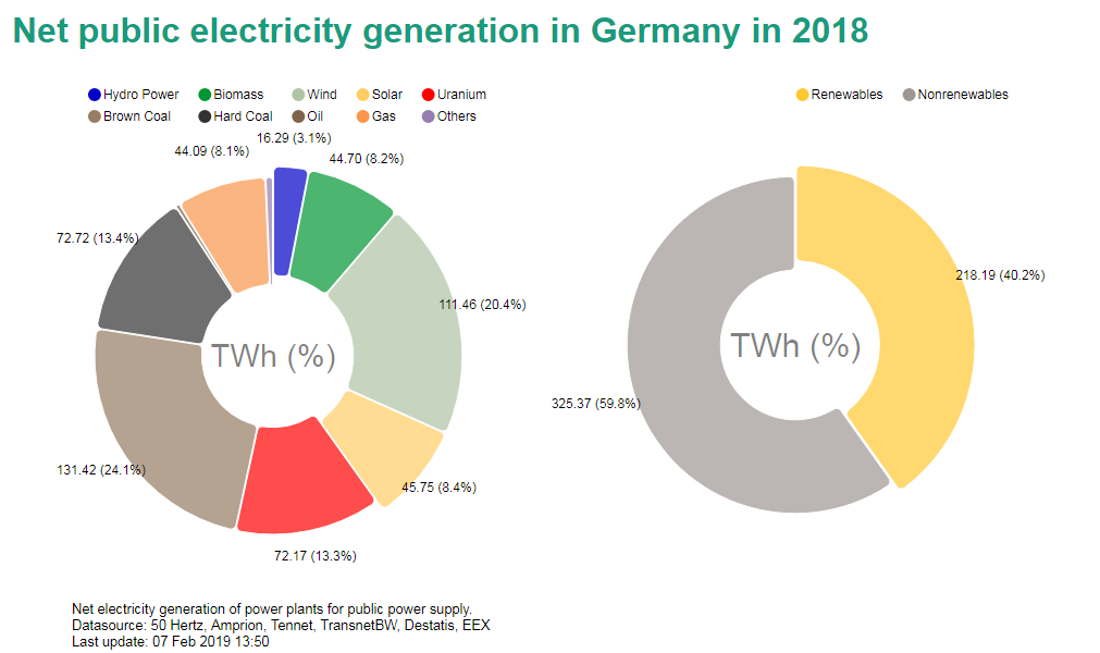 Share of various energy sources in net electricity generation in Germany in 2018.