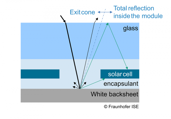 Reflection gains from white backsheets in PV modules